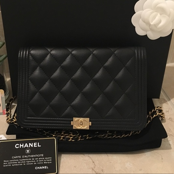 34d83724575a CHANEL Handbags - CHANEL Black Caviar Le Boy WOC With Gold Hardware
